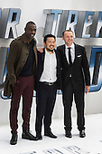London, UK. 12 July 2016. L-R: Idris Elba, Justin Lin and Simon Pegg. Red carpet arrivals for Star Trek Beyond. Paramount Pictures presents the European Premiere of Star Trek Beyond at the Empire Leicester Square.