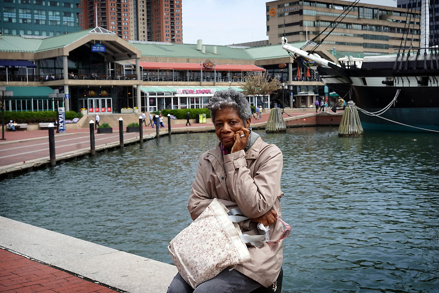 Retired editor and writer Allegra Bennett, 68, in Baltimore's inner harbor, April 30, 2015. to go with Nick O'Malley story.  photo by Trevor Collens