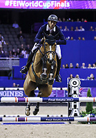 OMAHA, NEBRASKA - MAR 31: Steve Guerdat rides Bianca during the FEI World Cup Jumping Final II at the CenturyLink Center on March 31, 2017 in Omaha, Nebraska. (Photo by Taylor Pence/Eclipse Sportswire/Getty Images)