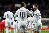 James and Isco of Real Madrid during La Liga match between Real Madrid and Sevilla at Santiago Bernabeu Stadium in Madrid, Spain. February 04, 2015. (ALTERPHOTOS/Caro Marin) /NORTEphoto.com