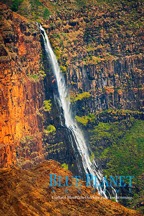 Waipo`o or Waipoo Falls, Waimea Canyon, the 'Grand Canyon of the Pacific Ocean', approximately one mile wide and ten miles long, more than 3,500 feet deep, State Park, Kauai, Hawaii