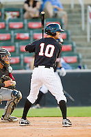 Jake Brown (10) of the Kannapolis Intimidators at bat against the Savannah Sand Gnats at CMC-Northeast Stadium on May 30, 2013 in Kannapolis, North Carolina. The Intimidators defeated the San Gnats 5-4 in 11 innings..   (Brian Westerholt/Four Seam Images)