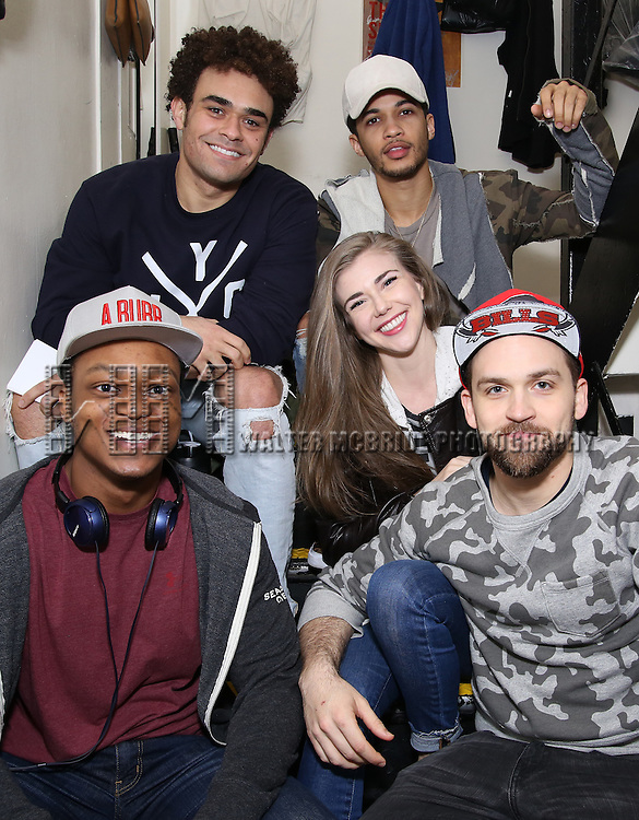 Andrew Chappelle, Jordan Fisher, Eliza Ohman, Neil Haskell and J. Quinton Johnson backstage before the cast Q & A for The Rockefeller Foundation and The Gilder Lehrman Institute of American History sponsored High School student matinee performance of  'Hamilton' at the Richard Rodgers Theatre on 2/8/2017 in New York City.