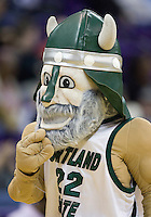 20 March 2010:   The Portland State viking mascot entertained the crowed in attendance during a timeout against Texas A&M. Texas A&M won 84-53 over Portland State in the first round of the NCAA Women's Basketball Tournament held at the Bank of America Arena in Seattle, WA.