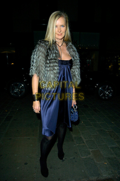 AMANDA WAKELEY.The Grey Goose Vodka & The Elton John AIDS Foundation - VIP launch party, One Piazza, London, England. .November 14th, 2007.full length wakely blue satin dress grey gray fur wrap jacket .CAP/CAN.©Can Nguyen/Capital Pictures
