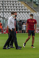29th July 2020; Olympic Grande Torino Stadium, Turin, Piedmont, Italy; Serie A Football, Torino versus Roma; Paulo Fonseca the coach of AS Roma inspects the playing surface before the match