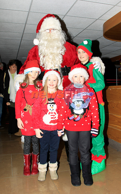 Santa arrives at Funtasia, Donore Road Industrial Estate, Drogheda turning on the lights at the official opening of the  Winter Wonderland display on Friday 5th December 2014.<br /> Picture:  Thos Caffrey / www.newsfile.ie