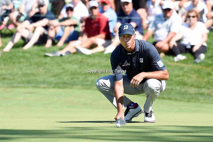 August 5, 2016: Matt Kuchar studies his putt on the 17th green during day two of the PGA Travelers Championship held at TPC River Highlands in Cromwell CT. Eric Canha/CSM