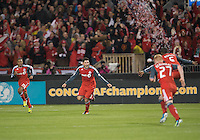 28 March 2012: Toronto FC defender Miguel Aceval #3 celebrates his goal during a CONCACAF Champions League game between the Club Santos Laguna and Toronto FC at BMO Field in Toronto...