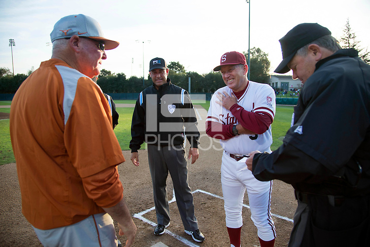 Stanford, CA - Friday, March 1, 2013: Stanford Cardinal head coach Mark Marquess (right) smiles talking to Texas Longhorns head coach Augie Garrido (left) before the NCAA baseball game.