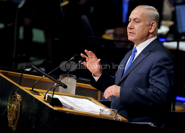 NEW YORK, NY - SEPTEMBER 19: Isreali Prime Minister Benjamin Netanyahu addresses world leaders at the 72nd UN General Assembly at UN headquarters in New York on September 19, 2017. Crredit: Dennis Van Tine/MediaPunch