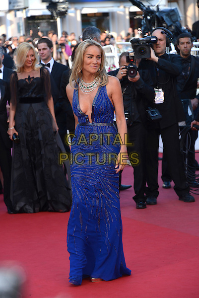 Sharon Stone.'Cleopatra' premiere at the 66th  Cannes Film Festival, France..21st May 2013.full length blue lace dress plunging neckline cleavage  silver necklace .CAP/PL.©Phil Loftus/Capital Pictures.