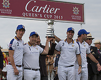 2015 Cartier Queens Cup Winners 'King Power Foxes' during the Cartier Queens Cup Final match between King Power Foxes and Dubai Polo Team at the Guards Polo Club, Smith's Lawn, Windsor, England on 14 June 2015. Photo by Andy Rowland.