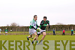 Colm Lyons of Na Gaeil breaks away from Denis O'Connor of Granagh/Ballingarry in the Muster Junior B Football Final last Sunday afternoon in Knockaderry.
