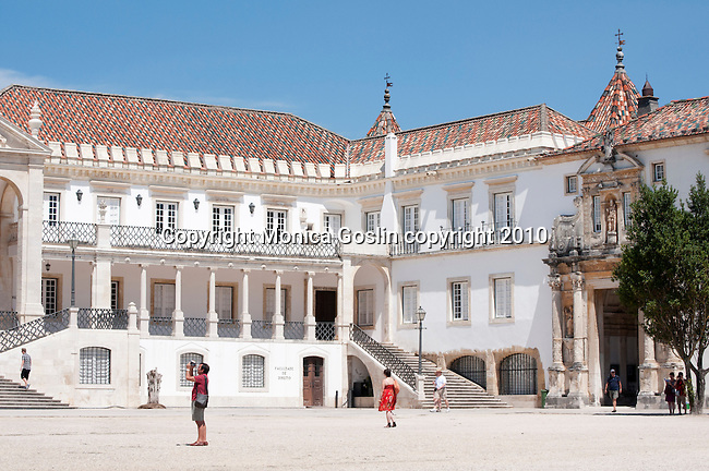 A courtyard at the University of Coimbra in Coimbra, Portugal.