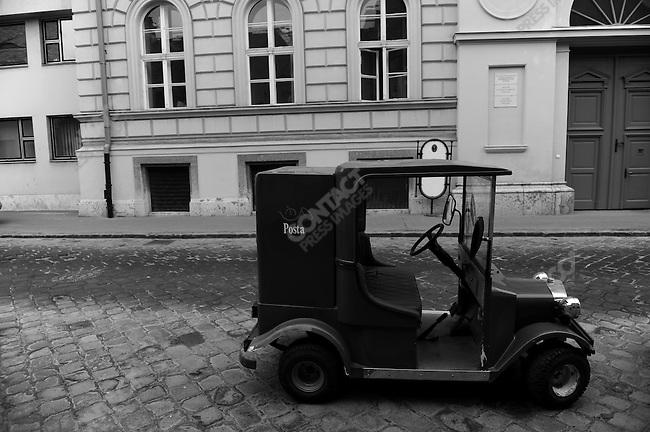 An electric postal buggie was parked on Castle Hill in Budapest, Hungary, March 23, 2008