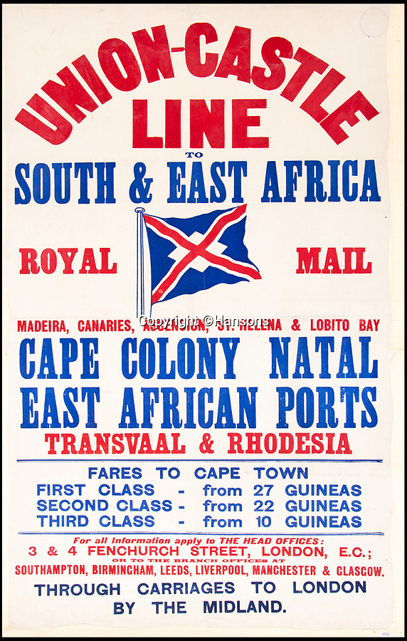 BNPS.co.uk (01202 558833)Pic: Hansons/BNPS<br /> <br /> 'Union-Castle Line. South & East Africa' - Estimated at £150-250.<br /> <br /> Vintage railway posters promoting the golden age of steam which were rescued from a station roof just before the building was demolished 54 years ago have emerged for sale for £20,000.<br /> <br /> The pristine Midland Railway posters - which date from 1910 to 1920 - were found by chance by a Cambridge undergraduate during a night out with friends in the tiny village of Edwaldton on the outskirts of Nottingham in 1964.<br /> <br /> As they walked through the old ticket office at Edwalton railway station, 22 year old Chris Hind saw some paper that had fallen through a hole in the ceiling. <br /> <br /> The next day, he returned to the station and fashioned a makeshift ladder to climb into the loft where the paper had fallen from and was amazed to discover a vast collection of about 40 posters which he has kept since then.