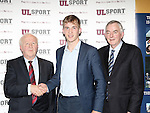27/10/2015   With Compliments.  Attending the GAA High Performance Scholarships 2015-2016 in the Castletroy Park Hotel were Robert Frost, GAA, Munster Council Chairman who presented the Munster GAA Bursary to recipient Paul Maher,Kilsheelan/Kilcash, Tipperary. Also in the photograph is UL President Professor Don Barry.  Photograph: Liam Burke/Press 22