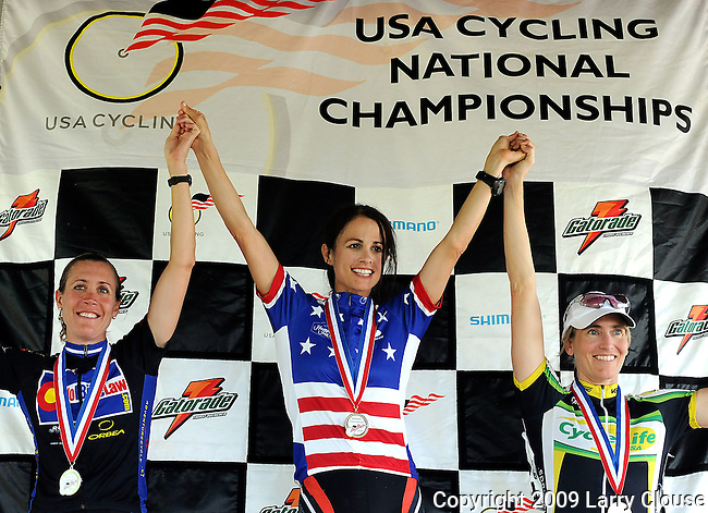 June 28, 2009:  Gold medalist Debbie Milne (center), Silver medalist Susannah Gordon (left) and Bronze medalist Sonja Evers on the podium following the 2009 Women's (40-44) Masters National Championship, Louisville, Kentucky.