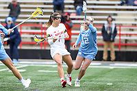 College Park, MD - February 24, 2019: Maryland Terrapins attack Brindi Griffin (1) scores a goal during the game between North Carolina and Maryland at  Capital One Field at Maryland Stadium in College Park, MD.  (Photo by Elliott Brown/Media Images International)