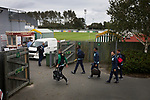 Guernsey 0 Corinthian-Casuals 1, 10/09/2017. Footes Lane, Isthmian League Division One. Rival players arriving at the ground as Guernsey take on Corinthian-Casuals in a Isthmian League Division One South match at Footes Lane. Formed in 2011, Guernsey FC are a community club located in St. Peter Port on the island of Guernsey and were promoted to the Isthmian League Division One South in 2013. The visitors from Kingston upon Thames won the fixture by 1-0, watched by a crowd of 614 spectators. Photo by Colin McPherson.