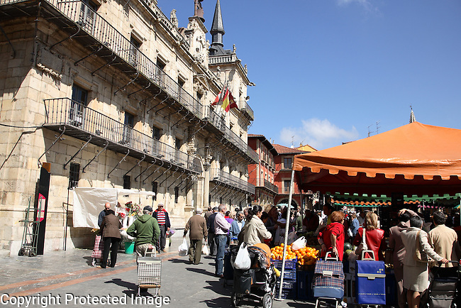Market in Plaza Mayor Square, Leon, Spain