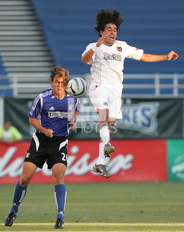 23 July 2005: Kelly Gray of Earthquakes battles for the ball in the air with Sergio Galvan Rey of MetroStars at Spartan Stadium in San Jose, California.  Earthquakes tied MetroStars, 1-1 at halftime.