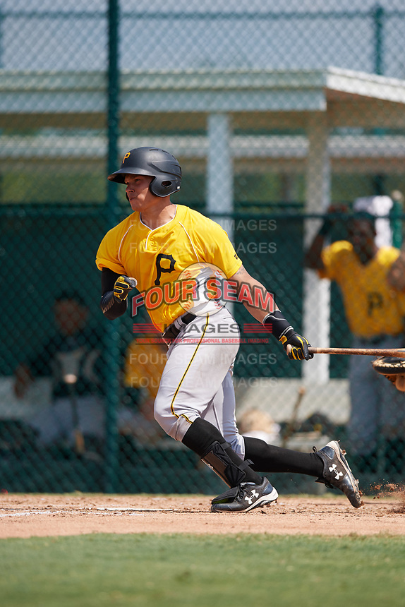 Pittsburgh Pirates catcher Dean Stafford (61) at bat during an Instructional League intrasquad black and gold game on September 28, 2017 at Pirate City in Bradenton, Florida.  (Mike Janes/Four Seam Images)