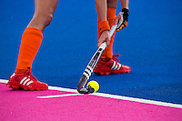 29 JUL 2012 - LONDON, GBR - Naomi van As (NED) of Netherlands prepares to take a penalty corner during the women's London 2012 Olympic Games Preliminary round hockey match against Belgium at the Riverbank Arena in the Olympic Park in Stratford, London, Great Britain (PHOTO (C) 2012 NIGEL FARROW)