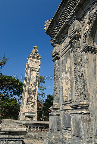 Asia, Vietnam, Hue. Stele at the royal tomb of Dong Khanh. Designated a UNESCO World Heritage Site in 1993, Hue is honoured for its complex of historic monuments. Seven royal tombs are scattered across the scenic countryside to the south of Hue. The smallest of all Nguyen tombs is the well-preserved mausoleum of Dong Khanh.