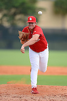 GCL Cardinals pitcher Dylan Hawkins (38) during the first game of a double header against the GCL Mets on July 17, 2013 at Roger Dean Complex in Jupiter, Florida.  GCL Cardinals defeated the GCL Mets 6-5 in twelve innings.  (Mike Janes/Four Seam Images)