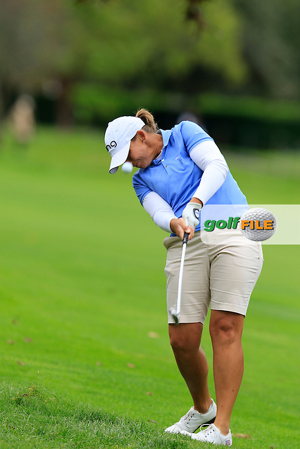 Angela Stanford (USA) plays her 2nd shot on the 12th hole during Saturday's Round 3 of The 2016 Evian Championship held at Evian Resort Golf Club, Evian-les-Bains, France. 17th September 2016.<br /> Picture: Eoin Clarke | Golffile<br /> <br /> <br /> All photos usage must carry mandatory copyright credit (&copy; Golffile | Eoin Clarke)
