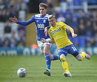 Leeds United's Ezgjan Alioski in action with Birmingham City's Connor Mahoney<br /> <br /> Photographer Mick Walker/CameraSport<br /> <br /> The EFL Sky Bet Championship - Birmingham City v Leeds United - Saturday 6th April 2019 - St Andrew's - Birmingham<br /> <br /> World Copyright © 2019 CameraSport. All rights reserved. 43 Linden Ave. Countesthorpe. Leicester. England. LE8 5PG - Tel: +44 (0) 116 277 4147 - admin@camerasport.com - www.camerasport.com