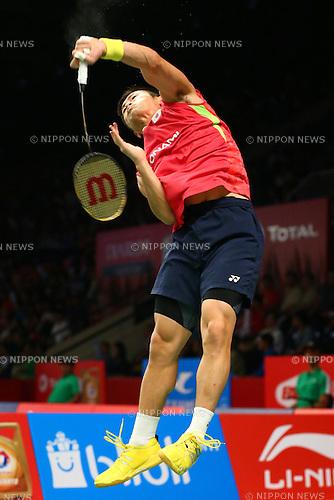 Sho Sasaki (JPN), AUGUST 12, 2015 - Badminton : TOTAL BWF World Championships 2015 Men's Singles 2nd round match at Istora Senayan Arena, Jakarta, Indonesia. (Photo by Shingo Ito/AFLO SPORT)