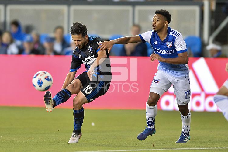 San Jose, CA - Wednesday August 29, 2018: Jahmir Hyka, Jacori Hayes during a Major League Soccer (MLS) match between the San Jose Earthquakes and FC Dallas at Avaya Stadium.