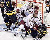 Colin Sullivan (BC - 2), Parker Milner (BC - 35), Isaac MacLeod (BC - 7), Patrick Brown (BC - 23), Vinny Scotti (Merrimack - 25) - The Boston College Eagles defeated the visiting Merrimack College Warriors 4-3 on Friday, November 16, 2012, at Kelley Rink in Conte Forum in Chestnut Hill, Massachusetts.