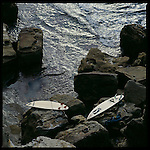 A few surfboards on the rocks at Manly, Sydney, Australia.