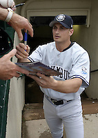 June 17, 2004:  Michael Vento of the Columbus Clippers, International League (AAA) affiliate of the New York Yankees, during a game at Frontier Field in Rochester, NY.  Photo by:  Mike Janes/Four Seam Images