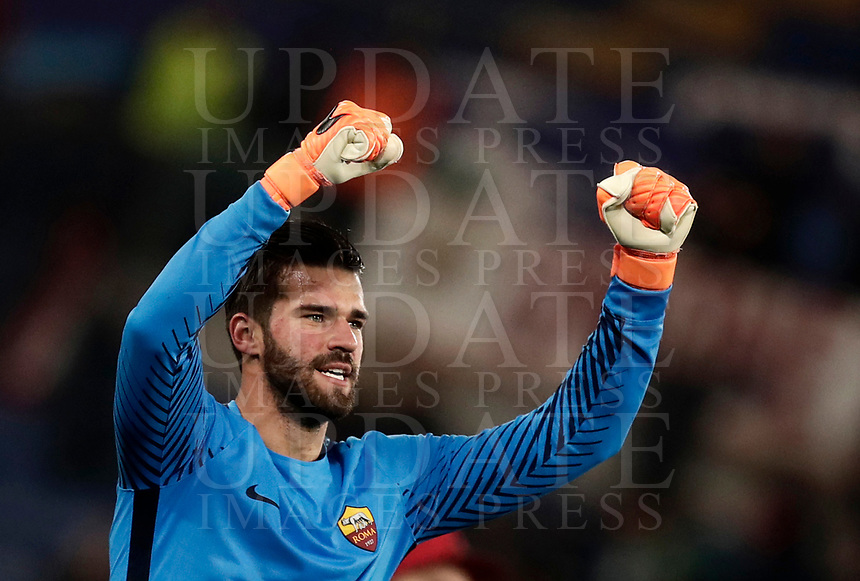 Football Soccer: UEFA Champions League  Round of 16 Second Leg, AS Roma vs FC Shakhtar Donetsk, Stadio Olimpico Rome, Italy, March 13, 2018. <br /> Roma's goalkeeper Alisson Becker celebrates after winning 1-0 the Uefa Champions League football soccer match between AS Roma and FC Shakhtar Donetsk, at at Rome's Olympic stadium, March 13, 2018.<br /> UPDATE IMAGES PRESS/Isabella Bonotto