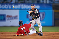 Pensacola Blue Wahoos second baseman Zach Vincej (3) turns a double play as Mallex Smith (1) slides in during a game against the Mississippi Braves on May 28, 2015 at Trustmark Park in Pearl, Mississippi.  Mississippi  defeated Pensacola 4-2.  (Mike Janes/Four Seam Images)