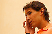 Spain«s tennis player Rafael Nadal gestures while speaking to medias in his birthplace village of Manacor on the Spanish Balearic island of Mallorca August 17, 2012. REUTERS/Enrique Calvo