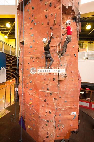 Indoor climbing wall, Xscape, Wakefield, UK