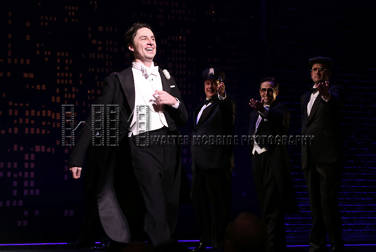 "Zach Braff during the Broadway Opening Night Performance Curtain Call for ''Bullets Over Broadway'""at the St. James Theatre on April 10, 2014 in New York City."
