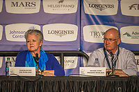 The press conference with the FEI and Organising Committee: Sharon Decker (COO Tryon 2018); Michael Stone (President Tryon 2018). 2018 FEI World Equestrian Games Tryon. Sunday 23 September. Copyright Photo: Libby Law Photography