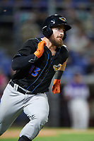 Akron RubberDucks catcher Eric Haase (13) runs to first base during a game against the Binghamton Rumble Ponies on May 12, 2017 at NYSEG Stadium in Binghamton, New York.  Akron defeated Binghamton 5-1.  (Mike Janes/Four Seam Images)
