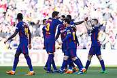 18th March 2018, Camp Nou, Barcelona, Spain; La Liga football, Barcelona versus Athletic Bilbao; Paco Alcacer of FC Barcelona celebrates the 8th minute goal for  1-0 with the team