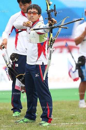 Hiroto Ozaki (JPN), <br /> JULY 6, 2015 - Archery : <br /> The 28th Summer Universiade 2015 Gwangju Men's Team Recurve Individual Qualification <br /> at Gwangju International Archery Center in Gwangju, South Korea.<br /> (Photo by Sho Tamura/AFLO SPORT)
