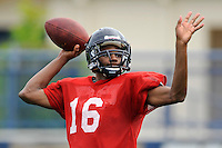 7 August 2011:  FIU's Fred Porter (16) passes during drills as part of the first day of fall practice with full pads at University Park Stadium in Miami, Florida.