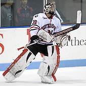 Mike Binnington (NU - 30) - The Northeastern University Huskies defeated the St. Thomas Tommies 7-5 in their exhibition match on Saturday, October 3, 2009, at Matthews Arena in Boston, Massachusetts.
