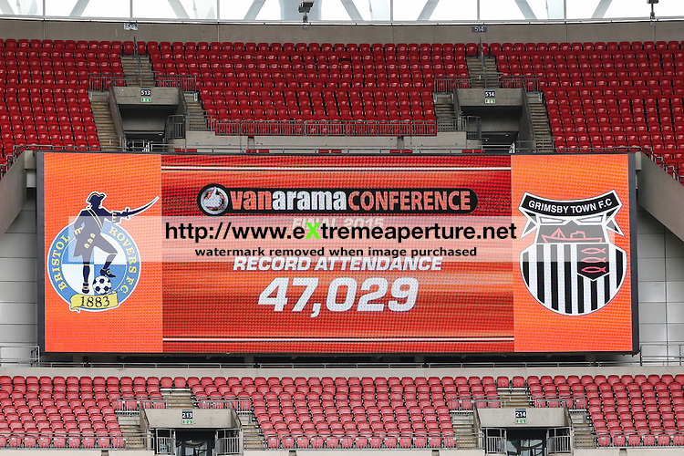 The Wembley scoreboard shows a record attendance for the Conference Playoff Final during the 2015 Vanarama Conference Promotion Final match between Grimsby Town and Bristol Rovers at Wembley Stadium, London<br /> Picture by David Horn/eXtreme aperture photography +44 7545 970036<br /> 17/05/2015